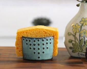 Kitchen Sponge Holder - Ceramic Card Holder - Aqua Mist - Geometric Bohemian Modern Home Decor - MADE TO ORDER