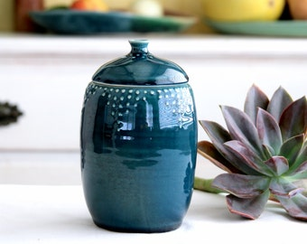 Lidded Jar - Ceramic Canister 30 oz. - 16 Color Choices - Blue, Green, White, Yellow, Red - Modern Home Decor - MADE TO ORDER
