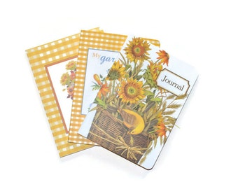Autum Garden Soft Cover Blank Journals Set of Three 5 x 7 Blank Journals Yellow Sunflowers