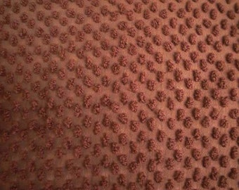 "CHOCOLATE Brown POPS Vintage Chenille Bedspread Fabric - 36"" X 30"" - #2"