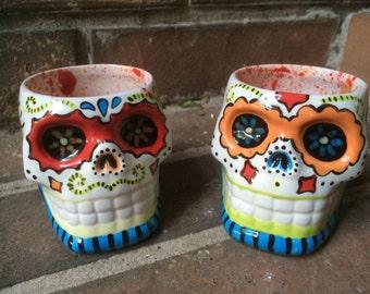 Ceramic Sugar Skull Shot Glass