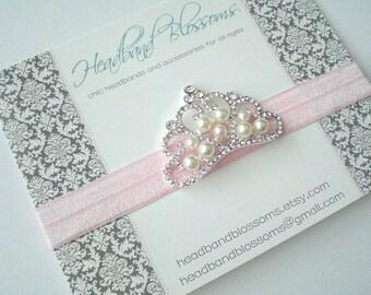 Pink Pearl Rhinestone Crown Headband - Newborn Baby Infant Toddler- Birthday Wedding - Photo Prop - Valentines Day