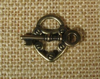 Lock and Key Toggle Clasp - TierraCast - Antique Brass - Choose Your Quantity