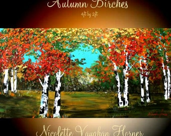 "Oil Landscape Abstract Original Modern 48"" palette knife Birch Trees oil  impasto oil painting by Nicolette Vaughan Horner"