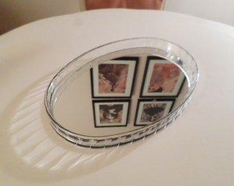 CLEARLY BEAUTIFUL / Vintage Lucite Mirrored Vanity Tray / Mid Century Modern