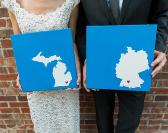 "State Love Pair - Two 12x12"" paintings - Customized and hand painted"