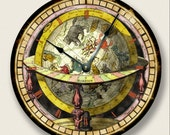 GLOBE MAP wall CLOCK - vintage print - antique old world look - 7012