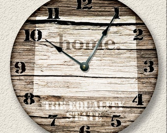 "10.5"" Wall Clock - WYOMING Home State Wall CLOCK  - Barn Boards pattern  - Equality State - rustic cabin country wall home decor"