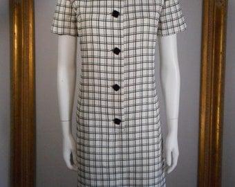 Vintage 1960's Charles Cooper Black & White Dress - Size 12