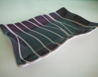 Maroon Fused Glass Wave Platter