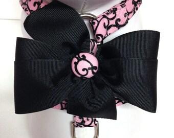 Dog Harness- Pink and Black Swirls