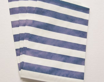 """Set of 10 NAVY and White Horizontal Stripe Design Middy Bitty Bags (5"""" x 7.5"""")"""