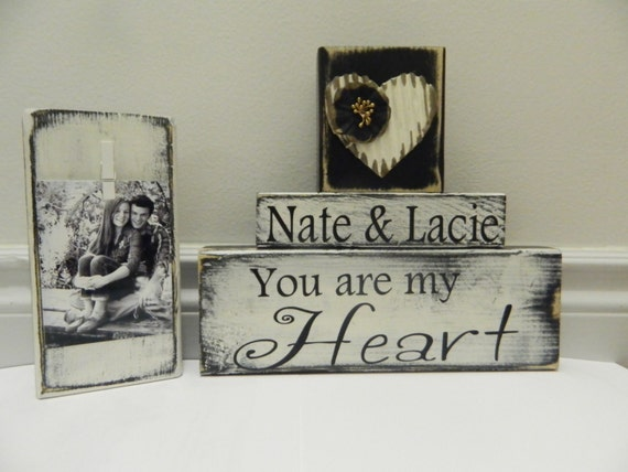 Wedding gift personalized wooden blocks home decor black and