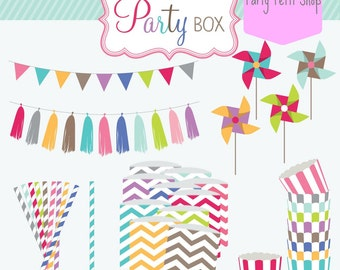 Party Favors Party Box Party Package Party Box Package Birthday Favors Baby Shower Favors Stripe Straws Favor Bags Cupcake Toppers Balloons