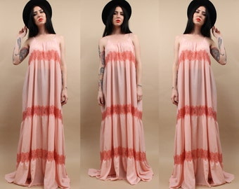 70s does 30s ROSE Pink Floor Length Maxi Dress / Cascading LACE Panel VAMPIRE Gown / Gorgeous! / One Size Fits Most