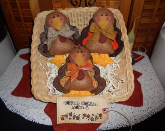 Primitive Whimsical Country Thanksgiving TURKEY Dolls Tucks Bowl Fillers Ornies