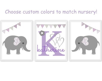 elephant theme nursery, bunting, children, kid, baby room, artwork, print, purple and gray nursery art, custom, set of 3, monogram name