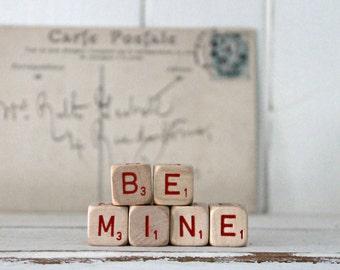 Vintage Letter Cubes BE MINE