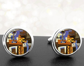 Cufflinks Picasso Three Musicians Famous Artists Handmade Cuff Links Fathers Dads Men French Cuff Accessory