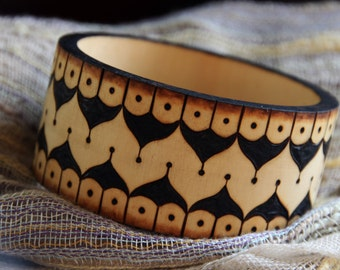 Bohemian Geometric Pyrography Woodburning Wood Bracelet