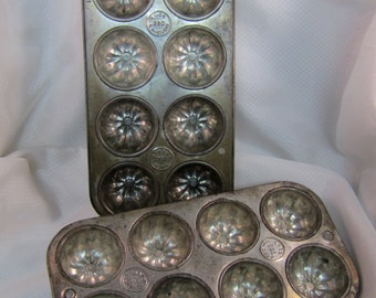 c1950's EKCO No. 880, 2 (Two) Fluted Muffin Baking Tins