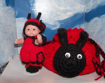 5 inch Berneguer Doll in Crocheted Ladybug Outfit with Ladybug Purse