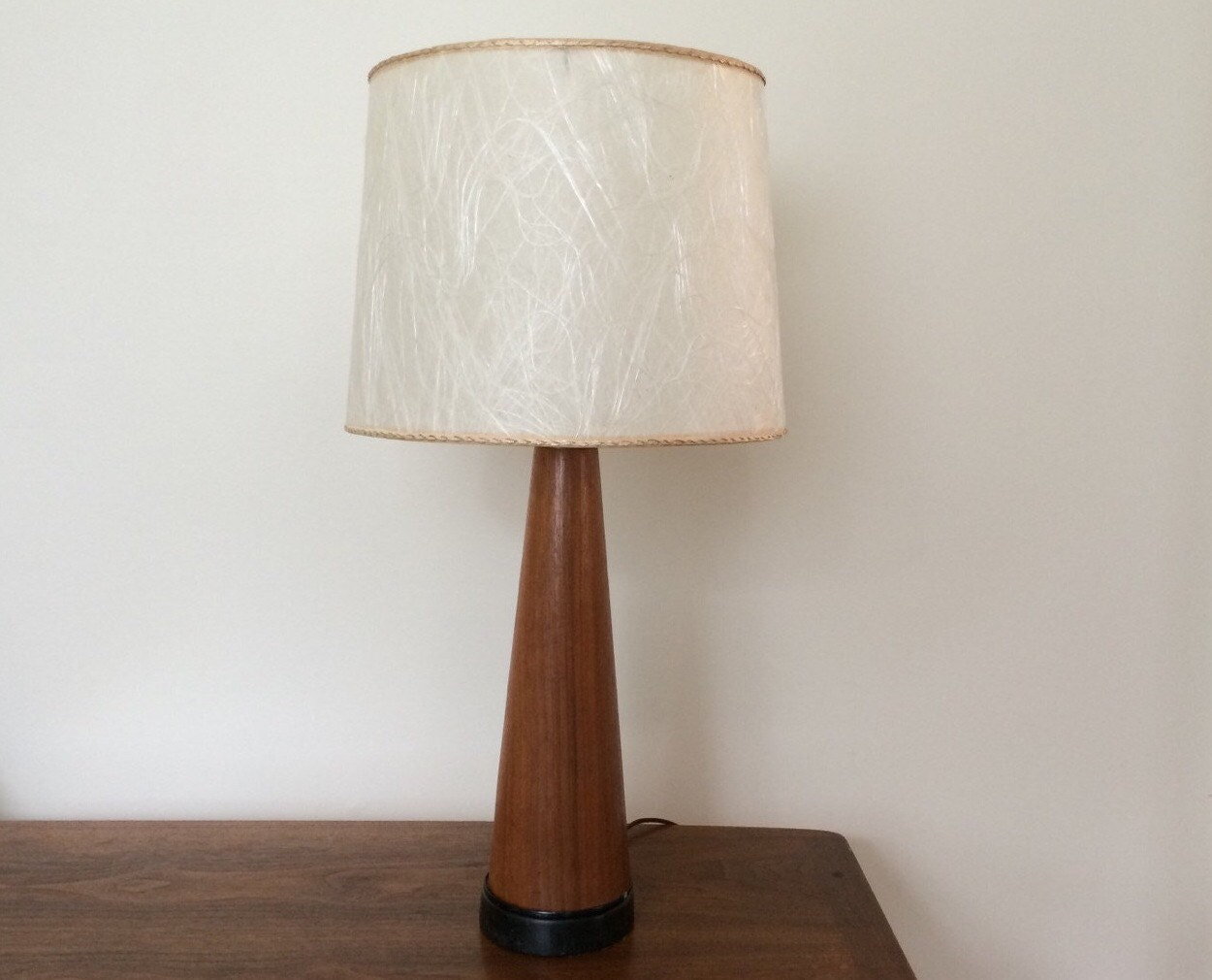 mid century modern tapered wood table lamp. Black Bedroom Furniture Sets. Home Design Ideas