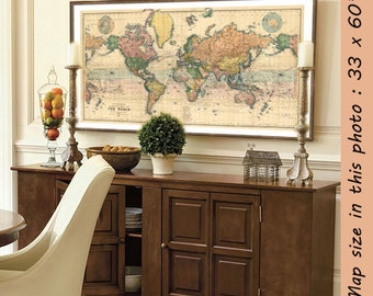 Map of the World - Large map of the World - Large giclee print - A vintage map for wall decoration - Up to 35 x 63 ""