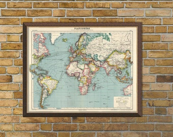 Planisphere - Old map of the World  - Fine art giclee print  - Large map print -  Various sizes