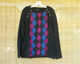 Vintage Knitted Cotton And Angora Black Blue And Pink Sweater Tommy Hilfiger Size XL
