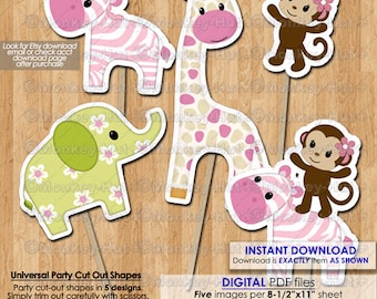 Jungle Jill Birthday Baby Shower Party Cut Outs Cake Topper Centerpiece Decorations INSTANT DOWNLOAD