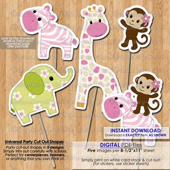 Jungle jill birthday baby shower party cut outs cake topper for Baby shower decoration cutouts