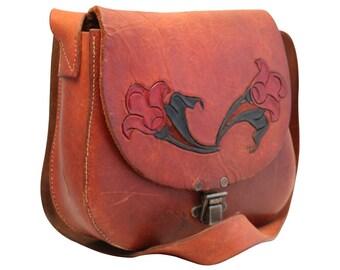 Vintage, Brown Leather Satchel, Messenger, Saddle Bag, Handbag