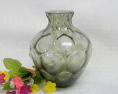 Vintage Smoked glass vase in honeycomb design gray brown color