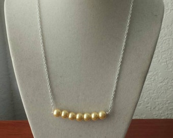 Yellow Pearl Bar Necklace