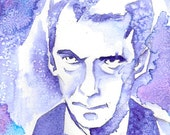 Angry Eyebrows, Dr Who 12th Dr Original Watercolor on Bristol ACEO Artist Trading Card