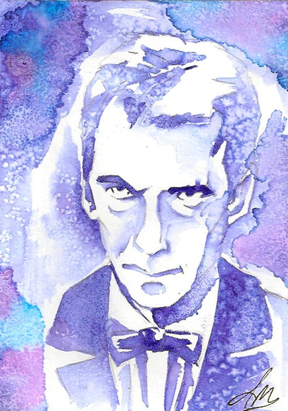 Angry Eyebrows, Dr Who 12th Dr Original Watercolor on Bristol Artist Trading Card