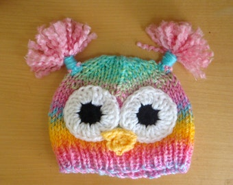 Owl Hat for Baby and Toddlers - Rainbow Owl Hat - Hand Knit & Crochet Owl Hat - Photo Prop Owl Hat