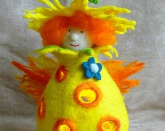 felted fairy, doll, tea light, handmade, wool, felt, fairy,Waldorf inspired, ornament, MADE TO ORDER