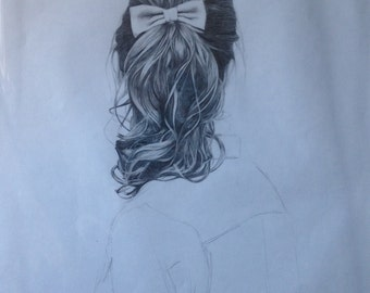 Hair with Bow Original Drawing A3