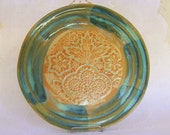 Stoneware Pottery Saucer with Lace Texture in Blue Green and Orange, Coasters, Candleholders, Soap Dishes