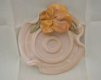 Handbuilt Porcelain Yellow Rose Soap Dish or Soap Holder, Bathroom Accessories, Cream Glaze