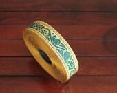 1 yard-Green & Golden Jacquard Trim-Woven Ribbon-Decorative Art Quilts fabric trim-Designer Silk Saree Border Trim-Brocade Fabric Trim