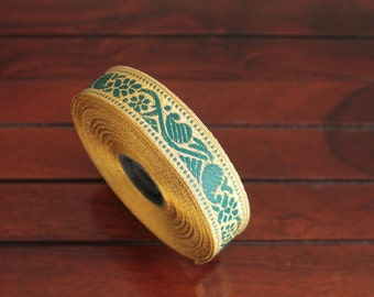 1 yard-Green & Golden Jacquard Trim-Woven Ribbon-Decorative Art Quilts fabric trim-Designer Silk Saree Border Trim-Brocade Fabric Trim