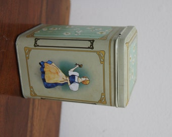 Vintage Proper People and Flowers Made In Western Germany Tin with Attached or Hinge Lid