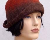 Assymetrical retro hat, brown felt cloche, 1920s inspired hat, art deco fashion, 20s accessory, winter hat
