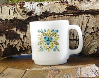 Glasbake Blueberry Mug Milk Glass