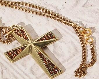 Mandarine Garnet Rhinestone Cross Necklace Pendant Burnished Gold