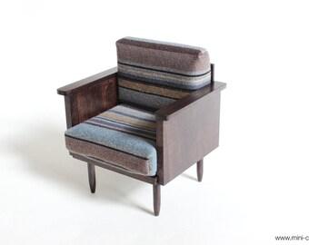 1/6 scale Armchair Mid Century Modern Dark wood miniature handmade furniture for Fashion dolls (Blythe, Barbie, Pullip, Momoko)