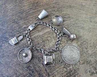 Vintage Charm BRACELET / Sterling Silver Mexico Jewelry / 1950's Bracelet